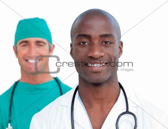 Portrait of assertive male doctors