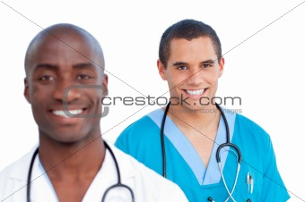Portrait of charming male doctors