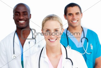 Portrait of enthusiastic medical team