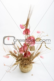 Bouquet with pink flowers and wheat