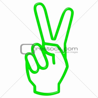 3D Victory Hand Sign