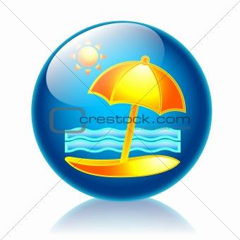 Beach glossy icon