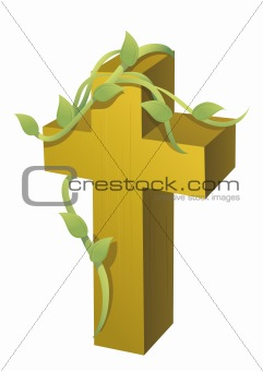cross and vines