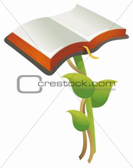 an open book on a the top of leaves