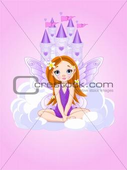 Little cute  fairy and a castle