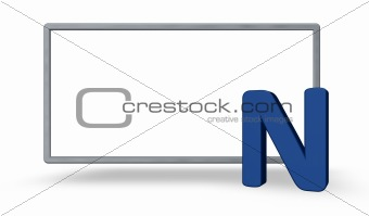 blank sign and letter n