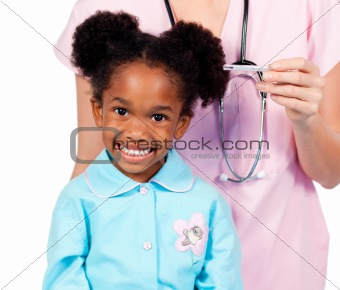 Adorable little girl attending medical check-up