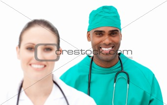 Multi-ethnic doctors standing in a row