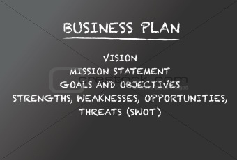 Business plan on a chalkboard