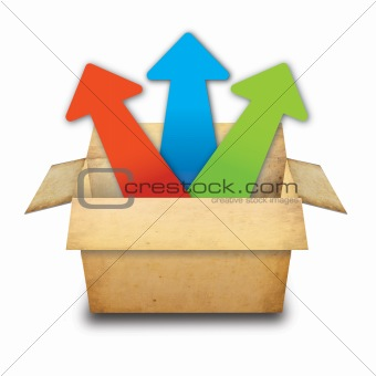 Box with pointing arrows