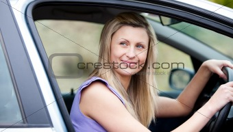 Chaming female driver at the wheel