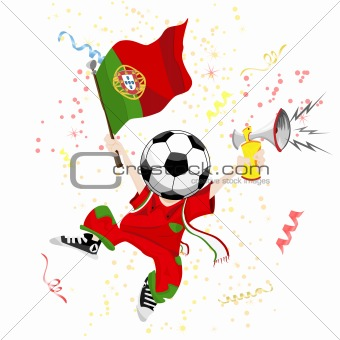 Portugal Soccer Fan with Ball Head.