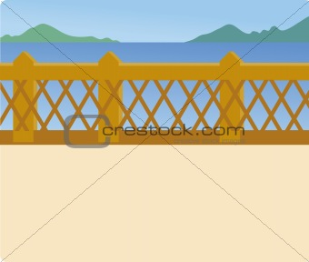 blue lake and bridge