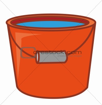 a red water pail with water