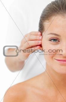 Beautiful woman having a head massage