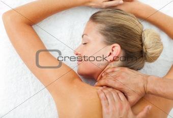 Portrait of woman enjoying a massage