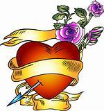 heart ribbon with rose emblem