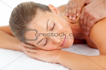 Portrait of asleep woman enjoying a massage