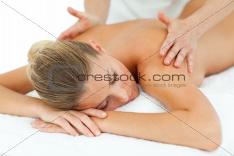 Positive woman enjoying a massage