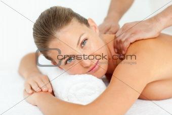 Calm woman enjoying a massage