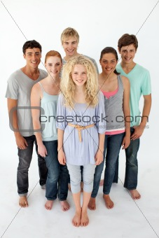 Group of teenagers standing in front of the camera