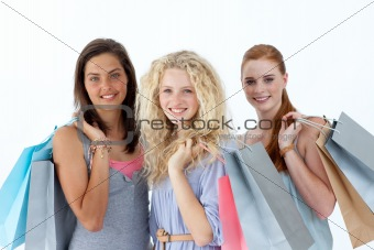 Beautiful teenagers with shopping bags