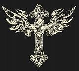 royal cross symbol with wing