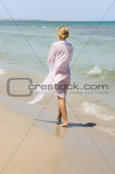 beach woman with a sarong