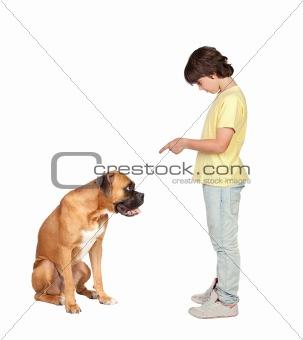 Adorable boy and his dog
