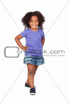 Adorable african little girl with denim miniskirt