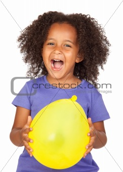 Adorable african little girl with yellow balloon