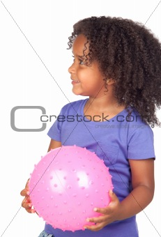 Adorable african little girl with pink ball