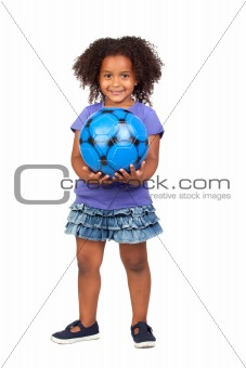 Adorable african little girl with soccer ball