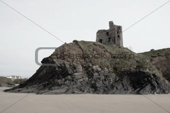 old castle ruin on a high rocky cliff