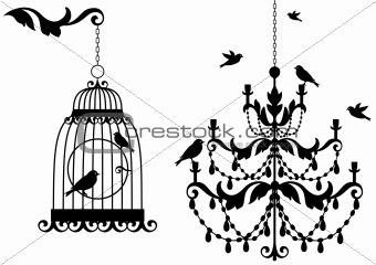 antique birdcage and chandelier, vector
