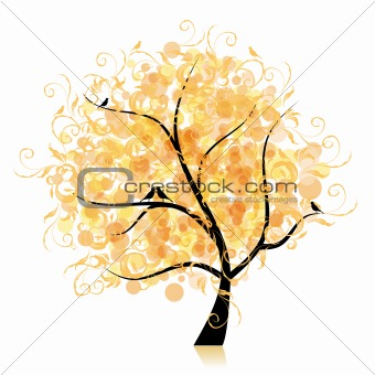 Art tree beautiful, golden leaf