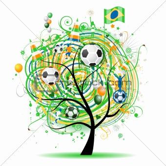 Football tree design, brazilian flag