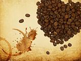 Coffee love concept. Heart shaped coffee beans and coffe rings o