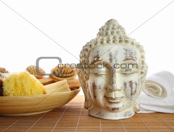 Bath accessories with buddha statue