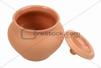 Single open empty ceramic pot