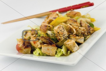 Grilled Chicken Salad with sliced Mango