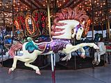 detail of carousel featuring horse
