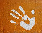 hand print painted on wall
