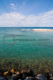 Clear and Crystal Sea Water on a Sunny Day, Wide Angle View