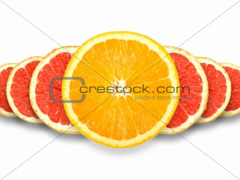 Abstract group of cross citrus fruits