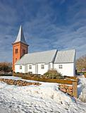 Country Church - winter a sunny day with blue sky