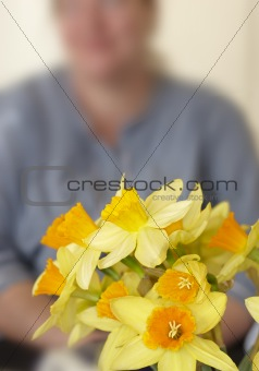 Beautiful daffodils indoor in front of an unidentifiable woman