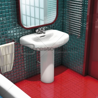 Bathroom red sink