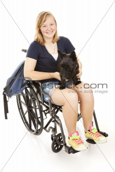 Disabled Girl with Scotty Dog