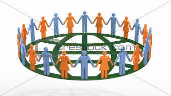Group of people around globe symbolic